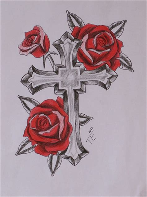 tattoo cross with roses designs photo