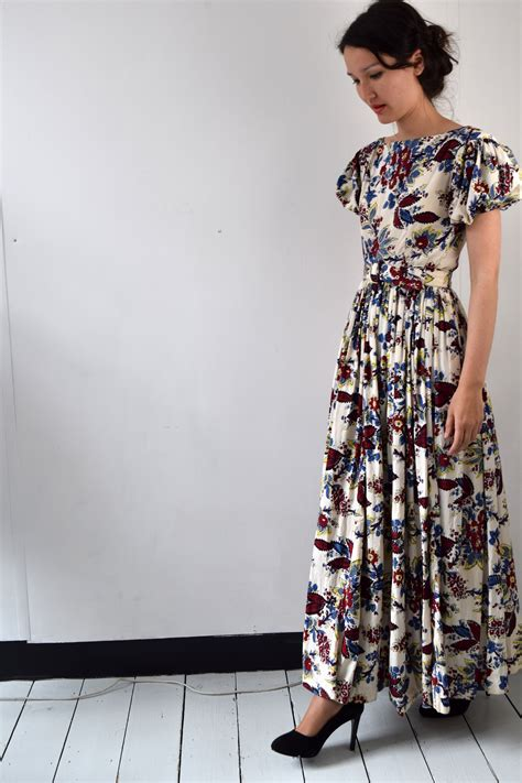 miniola vintage 1940s floral print maxi dress with