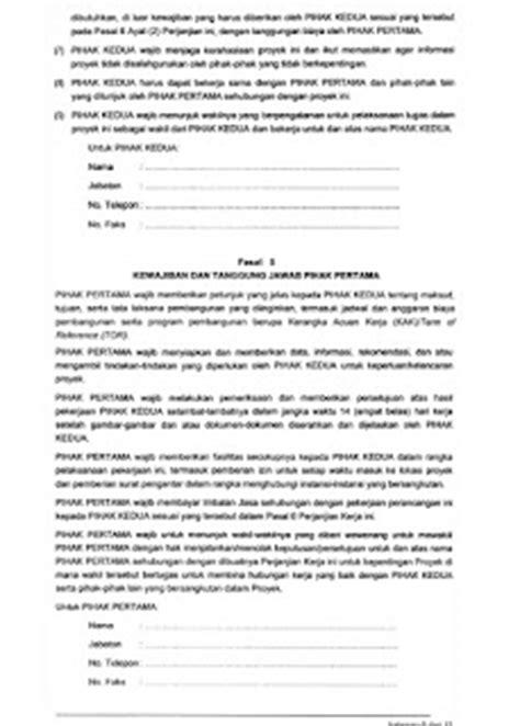 contoh surat perjanjian kerja arsitek dan pengguna jasa