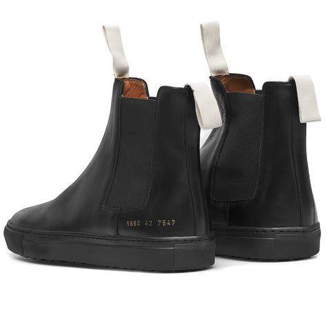 by common projects boots common projects black leather trek chelsea boots in black