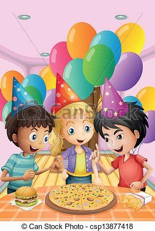 clipart compleanno bambini clipart vettoriali di bambini pizza festeggiare frigge