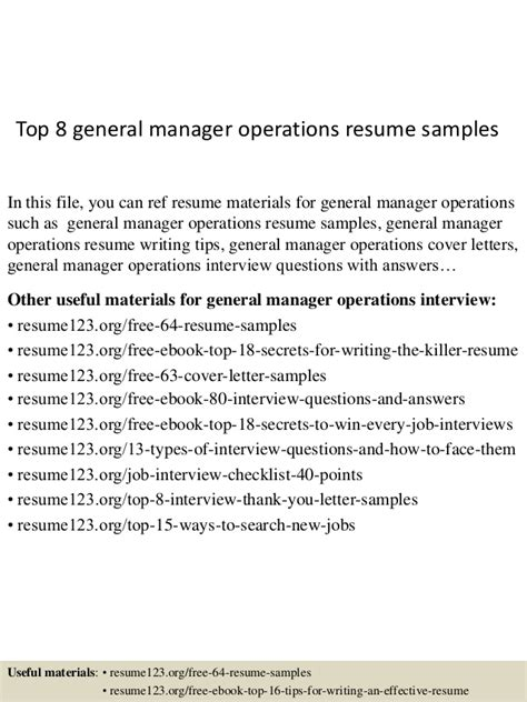resume format for general manager operations top 8 general manager operations resume sles