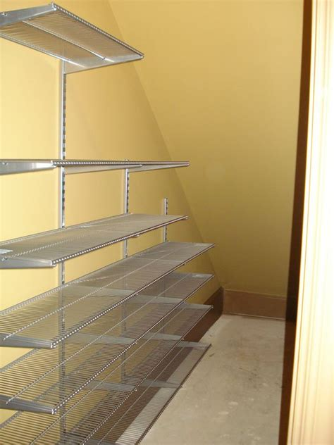 under stairs shelving the pesky under the stairs closet so may of us have elfa