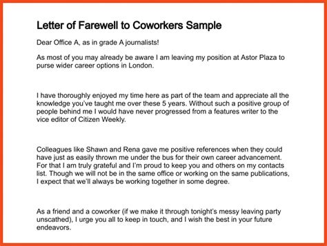 farewell letter to coworkers farewell letter to colleagues sop format exle