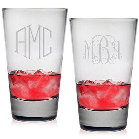 monogrammed barware glasses susquehanna hiball glasses monogram set of 4