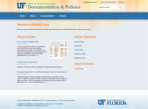 Orange And Blue Theme Help 187 Medinfo Sites College Of Medicine University Of Florida Helpdesk Website Template