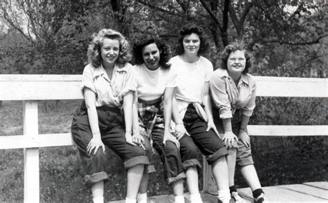 1950s fashions with rolled up jeans vintage photo blue jeans and bobby sox girl gang