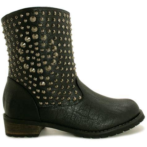 buy flat studded biker ankle boots black leather