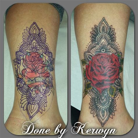 ankle cover up tattoos cover up mandala ankle