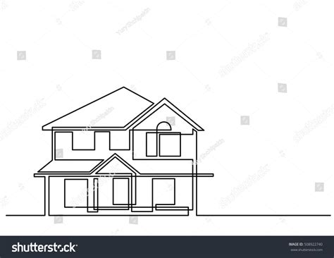 House Line Drawing Images Stock Photos Vectors Shutterstock | continuous line drawing house stock vector 508922740