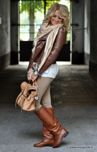 brown leather blazer scarf white tank top
