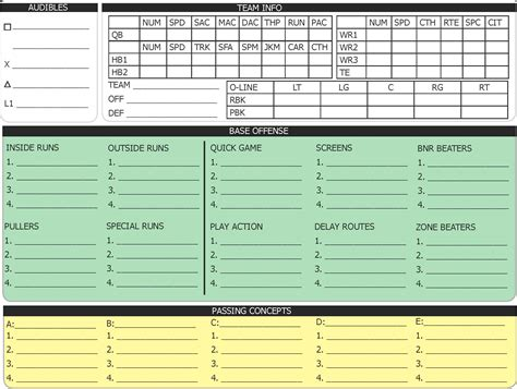 football call sheet template best photos of printable football play templates