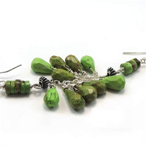 Handmade Silver Earrings Australia - australian gaspeite sterling silver handmade earrings