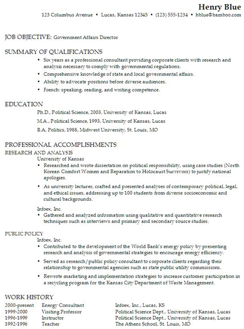 resume for a government affairs director susan ireland