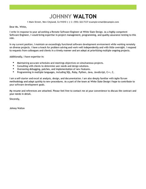 Cover Letter Software Engineering by Best Remote Software Engineer Cover Letter Exles