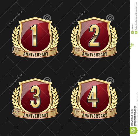 Anniversary Badge Gold And Red 1st, 2nd, 3rd, 4th Years