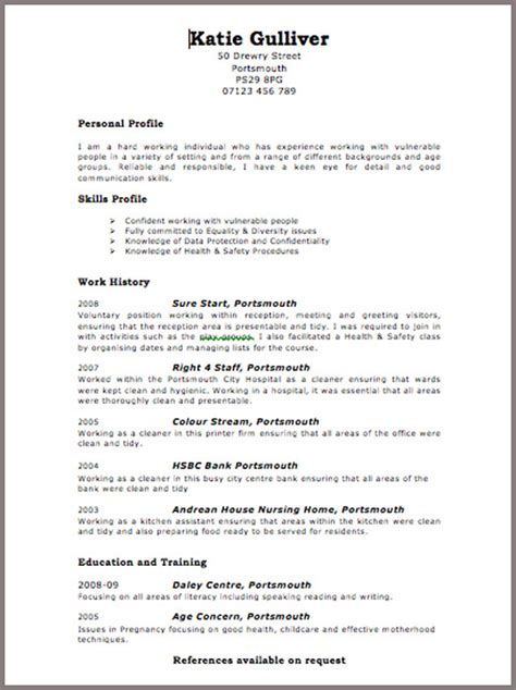 Resume Uk Resume 2016 Cv Layout Template