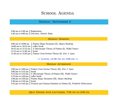 school agenda template sle school agenda 8 documents in pdf word