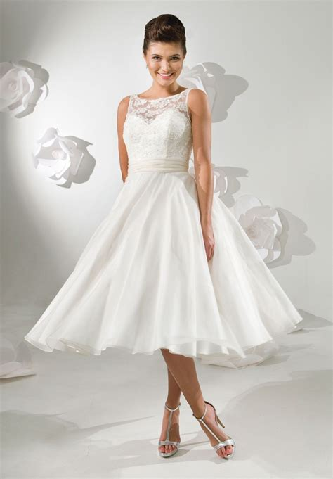 More Satin Looks by Tea Length Wedding Dress Satin And Lace Bateau A
