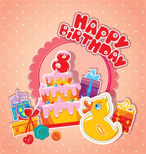 Baby Birthday Card Design Baby Birthday Card With Cake Vector Material 08 Vector