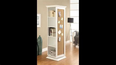 rotating storage cabinet with mirror white finish wood rotating storage cabinet with large cork