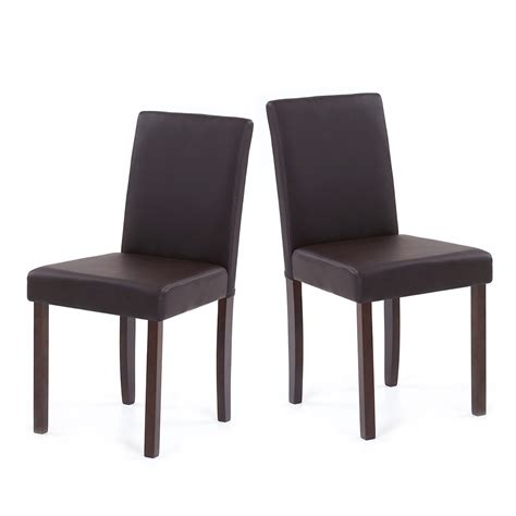 ikayaa set of 2 modern faux leather home room dining