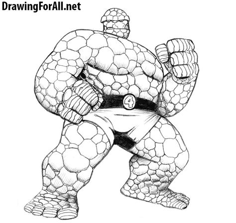 how to the how to draw the thing from fantastic four drawingforall net