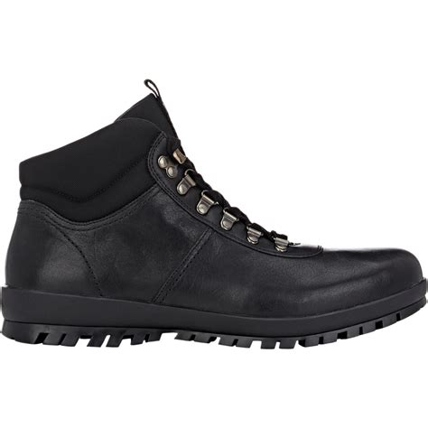 prada boots prada s leather hiking boots in black for lyst