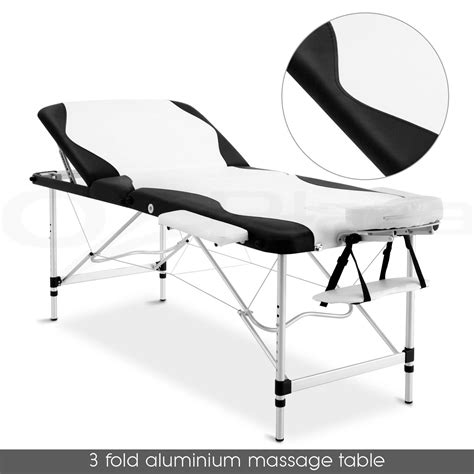 Waxing Chair by Portable Aluminium Table 3 Fold Black Bed Chair
