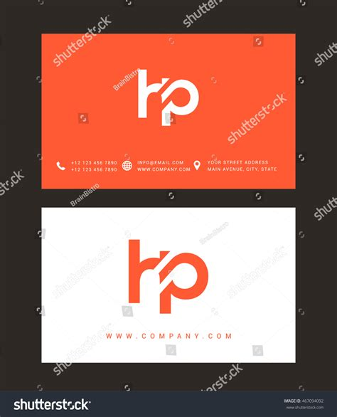 h and p template h p letter logo with business card template vector