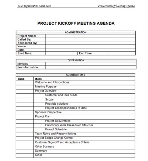 project kickoff meeting template project kickoff meeting agenda
