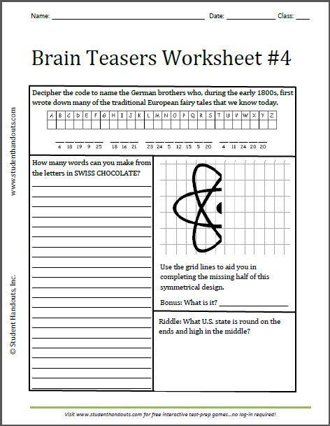 printable brain quest worksheets middle school brain teasers worksheet worksheets for all