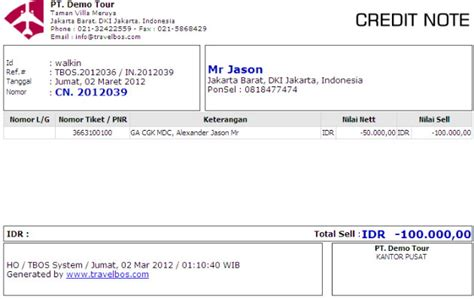 Contoh Format Credit Note contoh invoice in 2011093 skenario 1 car interior design
