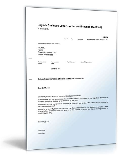 Musterbriefe Handwerk Auftragsbest 228 Tigung Auf Englisch Order Confirmation