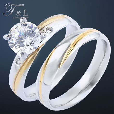 t l rhinestone ring set jewelry stainless steel gold