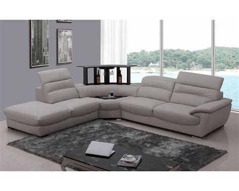 Sectional Sofas Modern Light Grey Italian Leather Sectional Sofa 44l5962