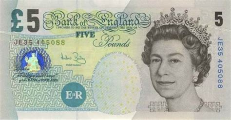 5 pound sterling note money paper note