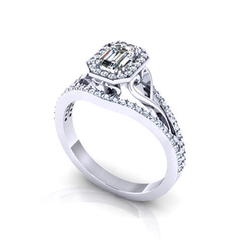 emerald cut halo engagement rings jewelry designs