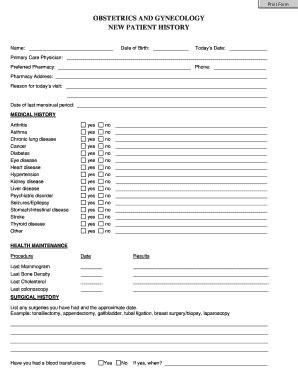 Patient History Form Templates Fillable Printable Sles For Pdf Word Pdffiller Ob Gyn History And Physical Template