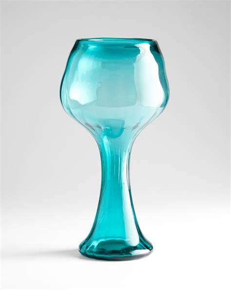 blue glass vase by cyan design