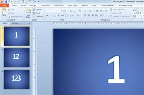 original idea to add numbers to powerpoint 2010 slides