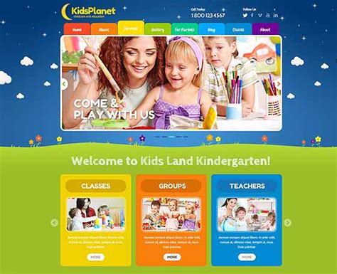 free website templates for kindergarten kids website template gridgum