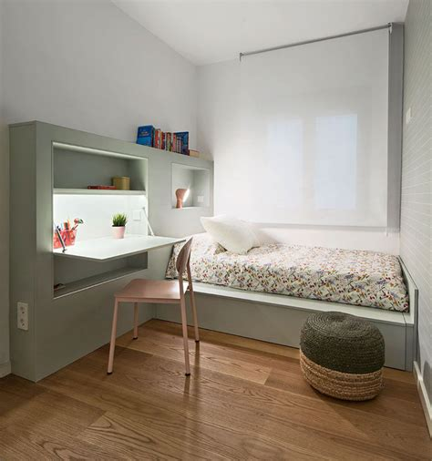 Bed And Desk For Small Room This Small Bedroom Combines The Bed Frame A Desk And Shelves To Save Space Contemporist
