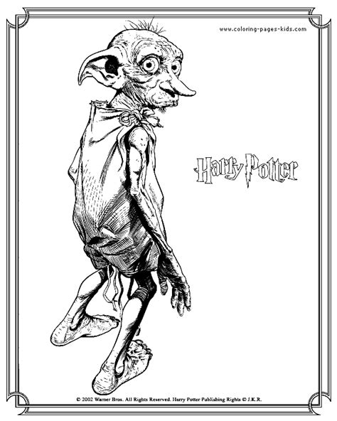 harry potter dobby coloring pages dobby harry potter color page embroidery pinterest