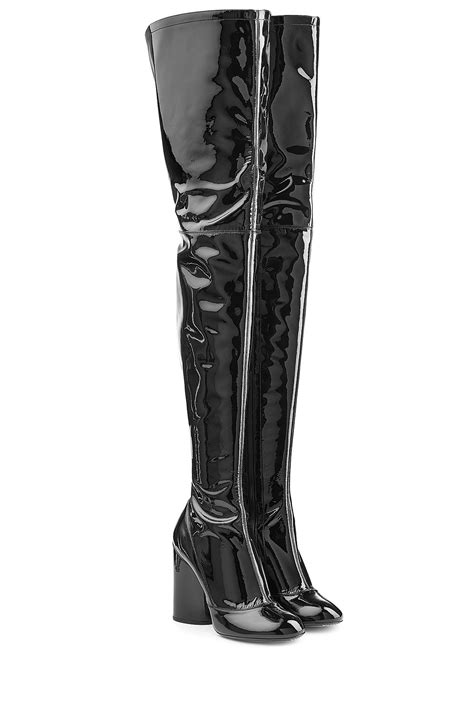 marc patent leather thigh high boots black in