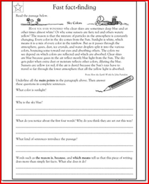 Reading Comprehension Worksheets For 5th Grade by Reading Passages 5th Grade Printables Reading