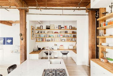 home loft office modern industrial loft home with built in office spaces