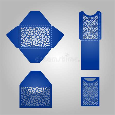 square greeting card template square laser cut envelope template stock illustration