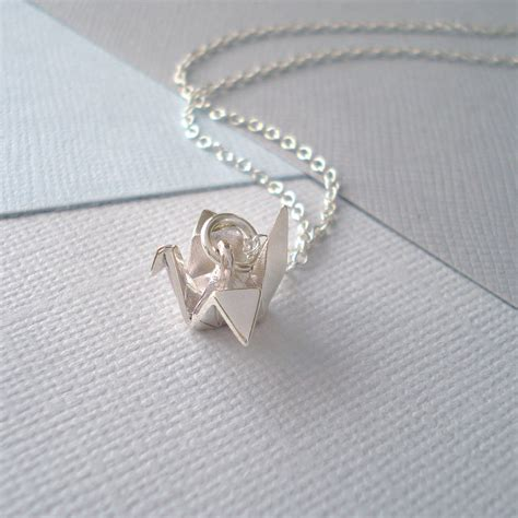 Silver Origami Crane Necklace - sterling silver origami crane necklace by