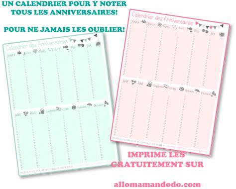 Calendrier D Anniversaire Gratuit à Imprimer Un Calendrier Des Anniversaires Pour Ne Jamais Plus Les